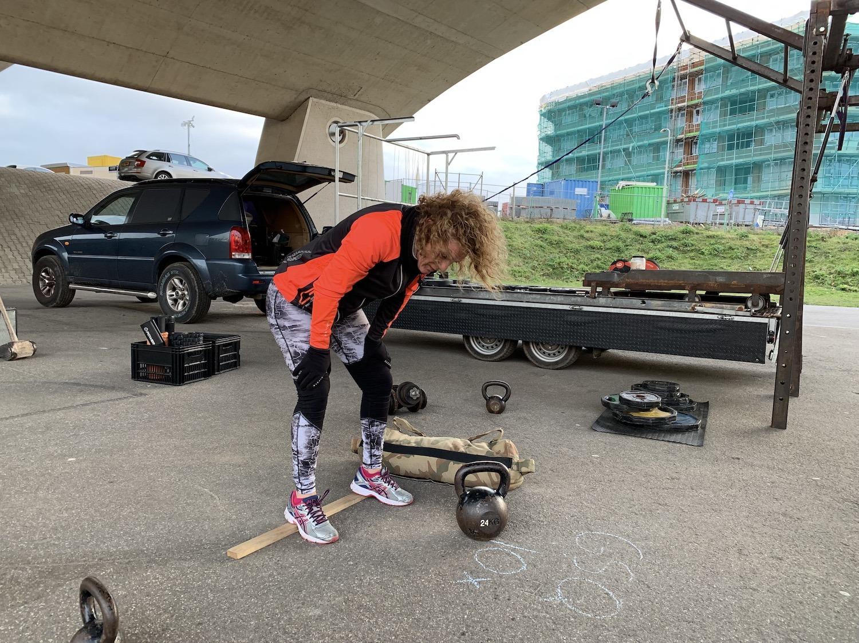 Birgit tijdens één van mijn sessies als personal trainer